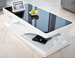 Wohnzimmer Tisch Couch Tisch Weiß Hochglanz Aus Mdf Und Glas 120x60cm Recht Eckig