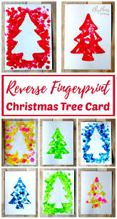 55 Easy Christmas Crafts Simple Diy Holiday Craft Ideas U0026 Projects Reverse Fingerprint Christmas Tree Card Keepsakes Christmas
