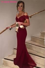 design abendkleider burgundy mermaid evening dresses design shoulder appliqued
