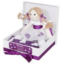 flower girl doll gift grey suits cadburys purple bridesmaids and an ivory wedding dress