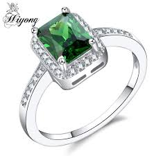hiyong big rectangular green cubic zirconia ring art deco jewelry