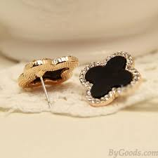 hypoallergenic earrings black clover diamond fashion jewelry silver needle hypoallergenic