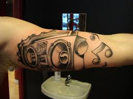 boombox and music notes tattoo tattoomagz