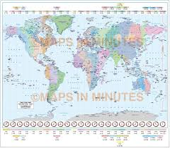 Time Zone Maps by Gall Projection World Time Zones Map With Capital Cities 10m