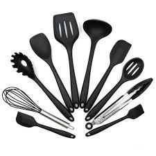 ustensile de cuisine noir lot de 10 pcs ensemble ustensile de cuisine en silicone achat