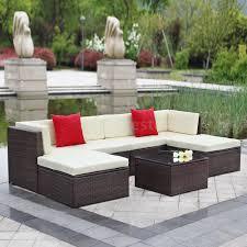 Outdoor Patio Sectional Furniture - ikayaa 7pcs outdoor wicker rattan sofa set patio garden sectional