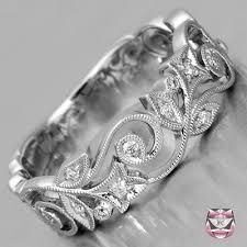 floral wedding band engagement wedding bands diamond wedding band nouveau style