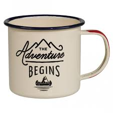 enamel mug u0027adventure begins u0027
