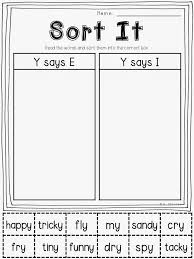 free sorting printable y as a vowel educational pinterest