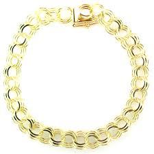 gold charm link bracelet images 14k yellow gold triple link charm bracelet 8mm width jpg