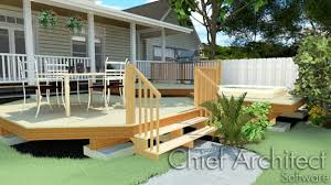 drawing stairs down from a deck or porch