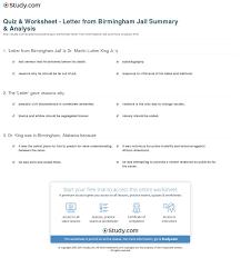 quiz u0026 worksheet letter from birmingham jail summary u0026 analysis