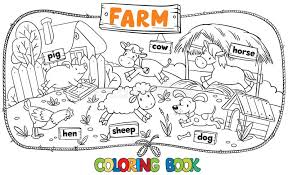 coloring book farm animals stock vector image 55368890