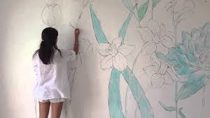 Name On Bedroom Wall Wall Art Flowers In My Room Speed Painting Youtube