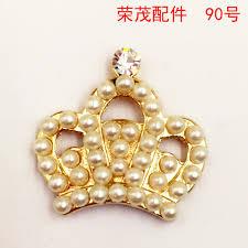 discount rhinestone button ornaments alloy golden crown pendant