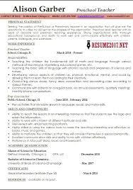 preschool teacher resume template example of teacher resume best