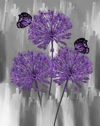 purple wall pictures modern purple floral butterfly home decor