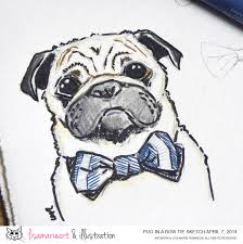 pug sketch bow ties are cool lisa marie art u0026 illustration