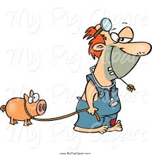 swine clipart of a cartoon white hillbilly doctor with a pig by