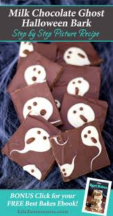 milk chocolate ghost halloween bark easy halloween