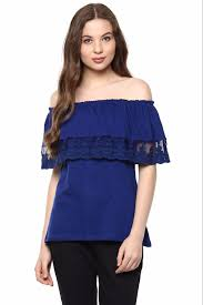 shoulder tops royal blue shoulder top for women the vanca