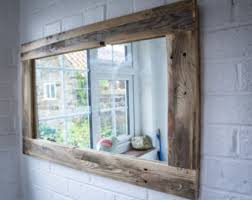 Rustic Bathroom Mirror - bathroom mirror made from reclaimed pallet wood with section for