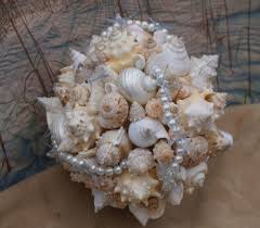 Seashell Bouquet New For 2015 Wedding Season A Blue Bird Accent And Pearl Seashell