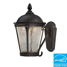 Hampton Bay Outdoor Light Fixtures by Hampton Bay Cottrell Collection Aged Bronze Outdoor Led Powered