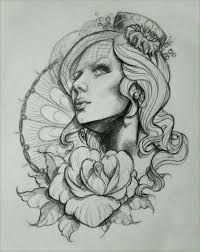 artist unknown tattoo sketch woman u0027s face with fishnet veil and