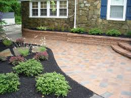 Paved Garden Design Ideas Garden Design With Laying Cement Pavers Wall And Landscaping