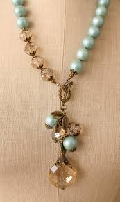 Jewelry Making Design Ideas Crystal Pendant Choker Length Necklace With Blue Pearls