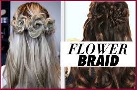 flower braid hair tutorial half up prom hairstyles youtube