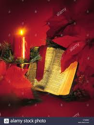 Flag With Bible Religious Christmas Still Life With Bible Candles And Poinsettia