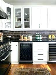 black subway tile black kitchen cabinets white subway tile view in gallery black and