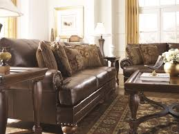 Ashley Furniture Sofa And Loveseat Sets Ashley Brown Leather Durablend Antique 4pc Sofa Package By Ashley
