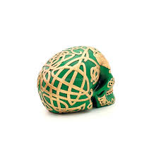 Celtic Skull - green celtic skull with gold celtic design home decor