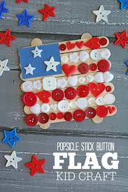 popsicle stick button flag kid craft make and takes