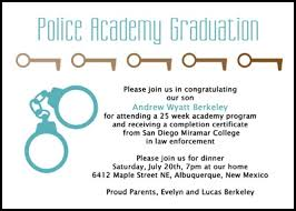 academy graduation invitations free graduation wordings for 99 enforcement academy cards