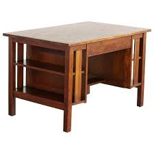 Mission Bookcase Plans Desk Arts Crafts Mission Style Oak Library Table With Integrated