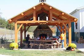 cypress timber frame pavilion in tennessee rustic patio