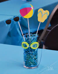 Pool Party Ideas Beach Party Centerpiece Pool Party By Handmadecardsbyhjm On Etsy