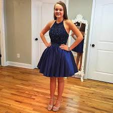 fashion navy blue a line short homecoming dresses 2017 new