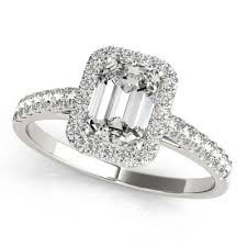 Halo Cushion Engagement Rings X 7mm Emerald Cut Cirque Prong Set Diamond Nadine Style Engagement