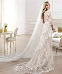 high low wedding dress with sleeves informal sheath v neck high low front slit lace wedding dress with