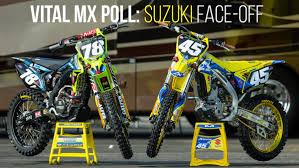suzuki motocross bikes vital mx poll suzuki rm z250 face off moto related motocross
