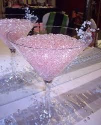 crystal vine around large martini glass filled with water beads