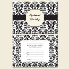 formal 18th birthday invitation card with floral pattern paper in