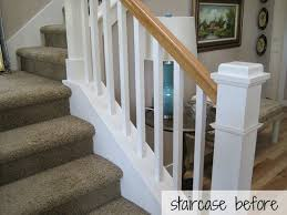 Painting A Banister White Hickory Hardwood Flooring And Staircase Makeover