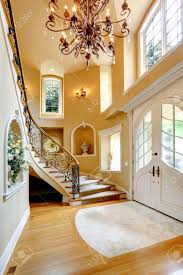 Decorated Ceiling Beautiful High Ceiling Entrance Hall With Staircase And Decorated