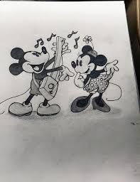 disneys mickey minnie pencil sketch morganthepanda